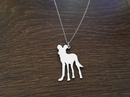 African painted wild dog pendant, necklace sterling silver handmade